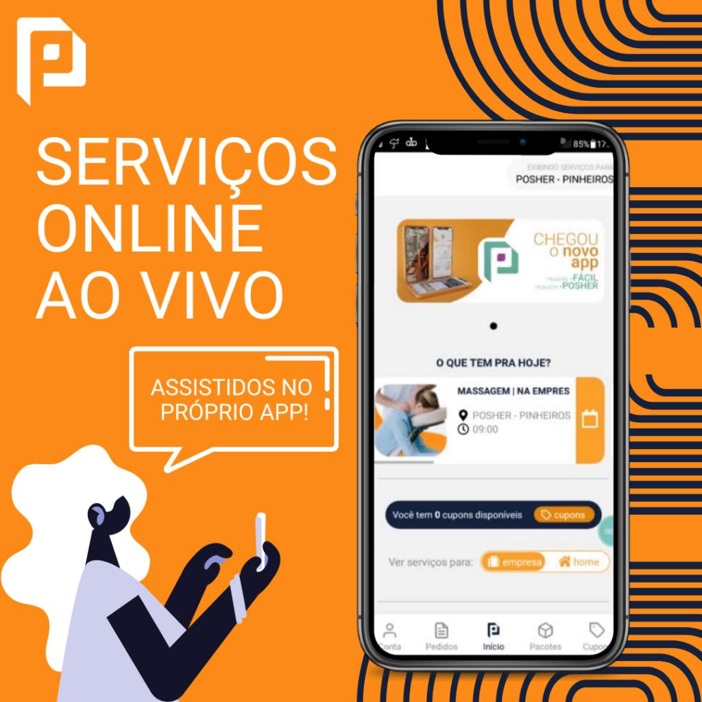 Serviços online de bem-estar no novo POSHER App