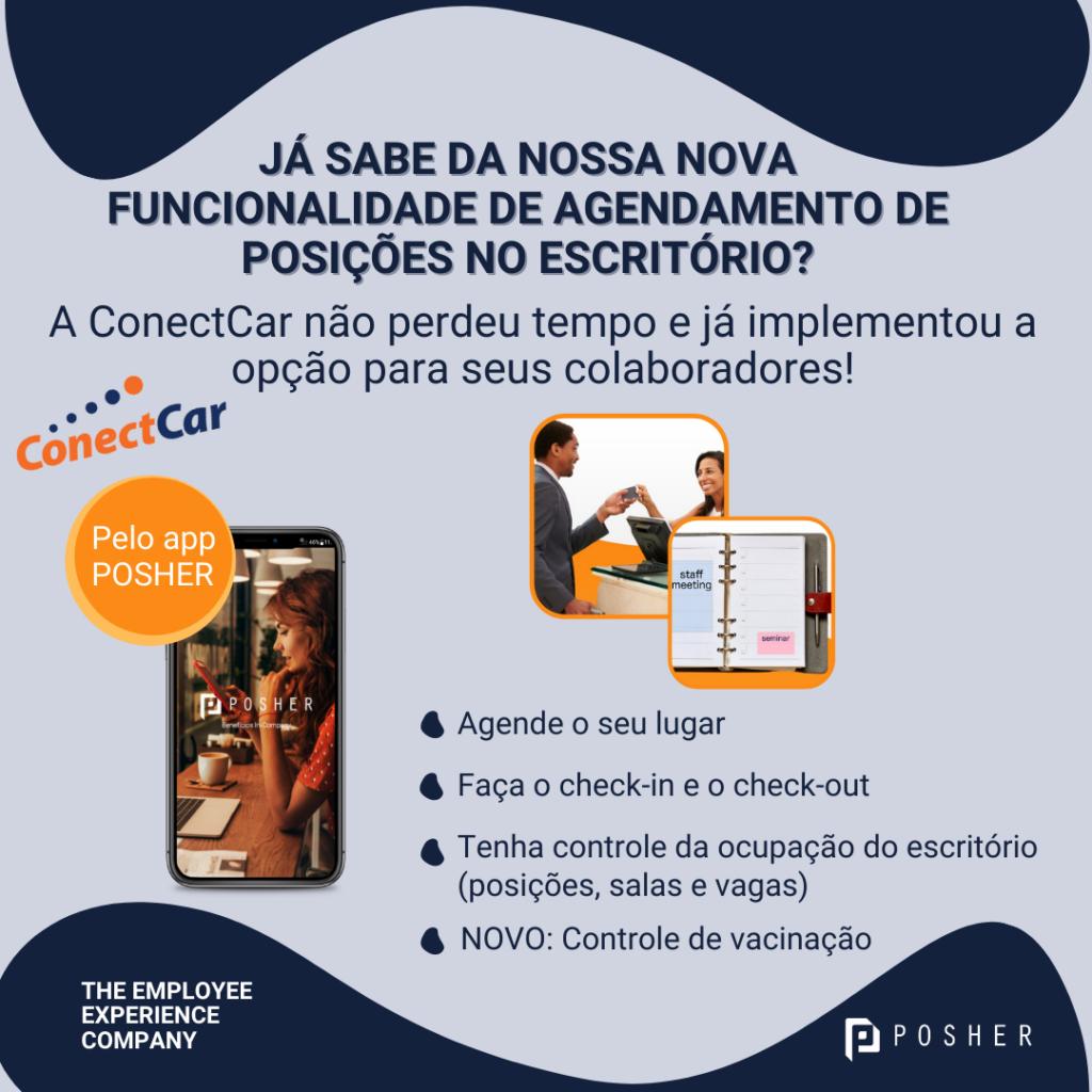 Conectcar implementa o escritório flexível com o agendamento de lugares.