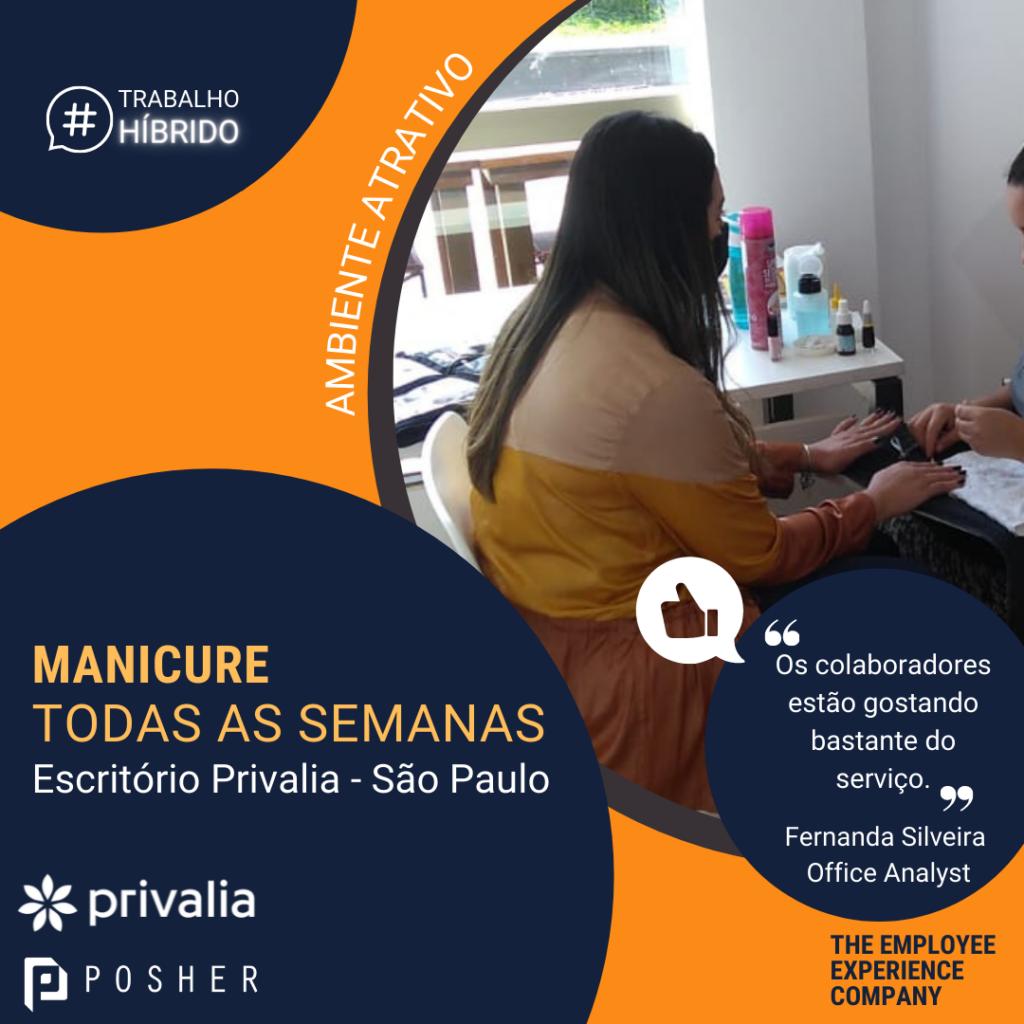 Serviços de manicure semanais no escritório da Privalia, realizados pela POSHER